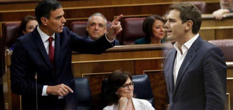 El presidente del Gobierno ha mantenido un cruce de acusaciones con los líderes del PP y de Ciudadanos en la sesión de control de los miércoles en el Congreso de los diputados.