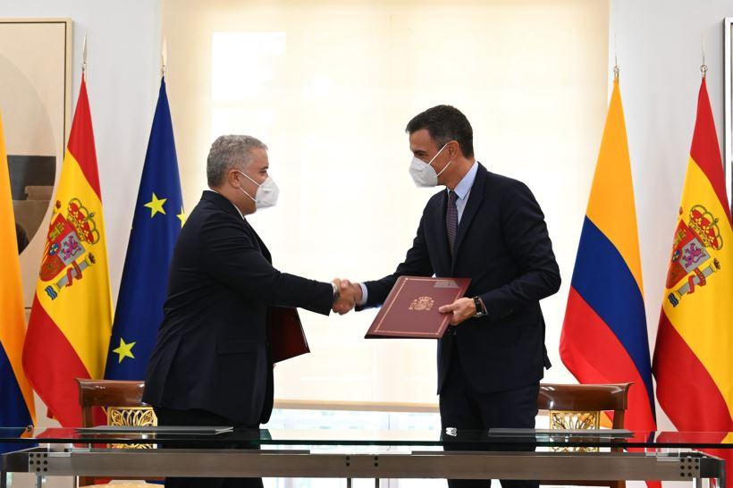 Iván Duque se ha reunido con el presidente del Gobierno, Pedro Sánchez, en el Palacio de la Moncloa para profundizar en las relaciones bilaterales entre España y Colombia